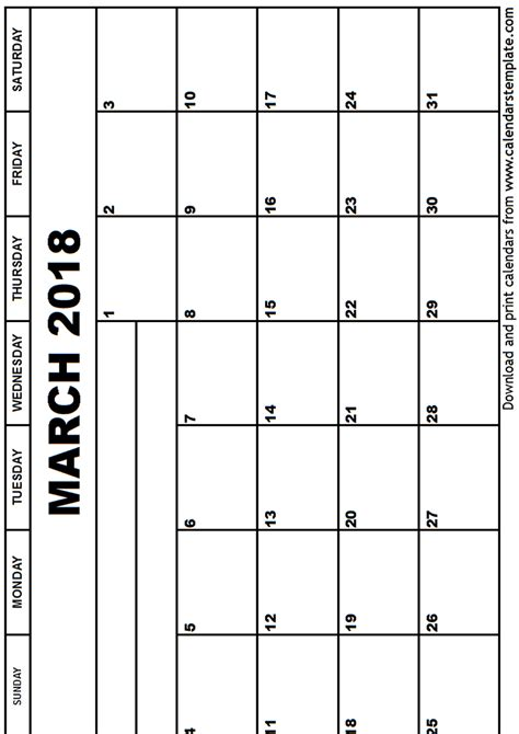 Calendar Template 2018 March March 2018 Calendar Template