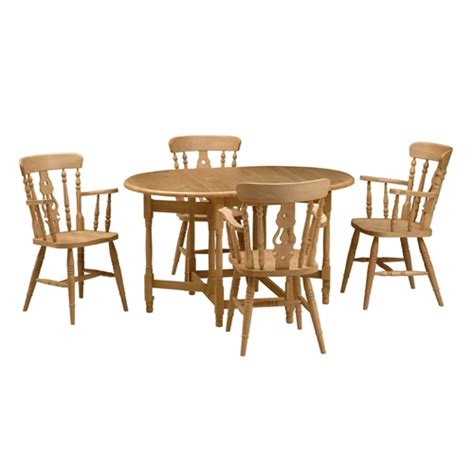 Farmhouse Pine Gateleg Table And 4 Fiddleback Carver Gateleg Dining Table And Chairs
