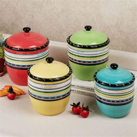 colorful kitchen canisters kitchen stripes colorful canister set choosing the best