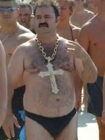 Fat guy gold chain cross