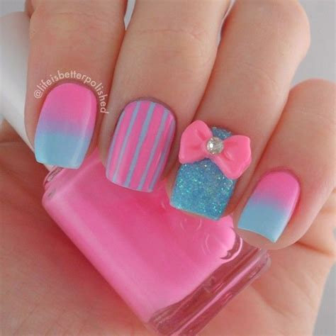 Nail Designs With Pink And Blue 25 pink nail designs for 2016 pretty designs