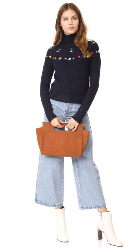 embroidered mock neck sweater lyst autumn embroidered mock neck sweater in blue