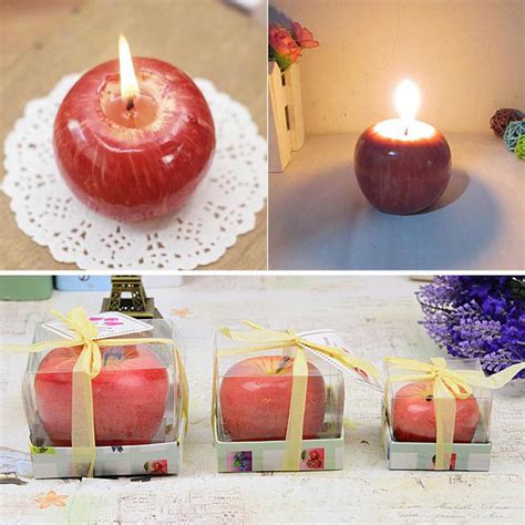 ᑐhome red apple shape ᐃ fruit fruit scented candle gift