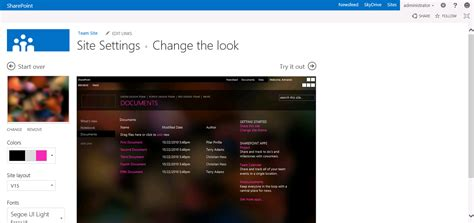 how to change your look sharepoint themes sharepoint 2013 site themes cloudshare