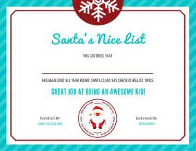 Santa Claus Certificate Template by Free Letter To Santa Template With Quot List Quot Certificate