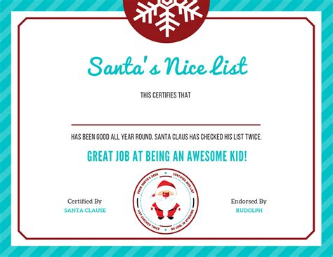 free letter to santa template with quot nice list quot certificate