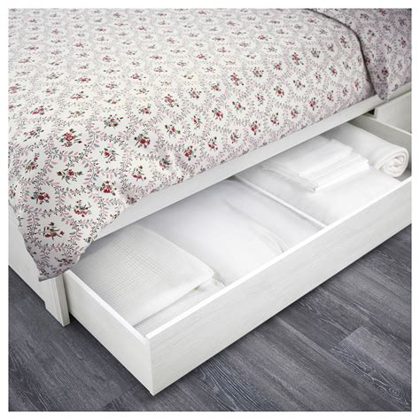 ikea storage bed frame brusali bed frame with 2 storage boxes white 140x200 cm ikea