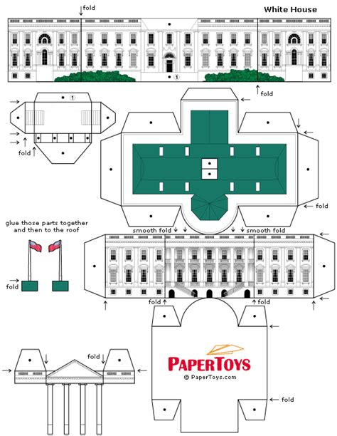 Cut Out And Make Paper Models - white house paper model paper cutouts by papertoys