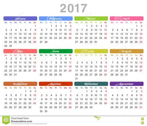Calendrier 2017 Avec Numéro De Semaine Vacances Scolaires Calendario Anual Lunes De 2017 A 241 Os Primero Ingl 233 S
