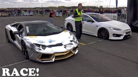 Lamborghini Drag Race Lamborghini Aventador And Tesla Model S Duel In An