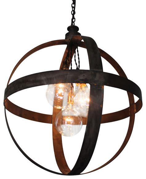 Black Ceiling Band by Large Steel Band Sphere Pendant Black Iron Industrial