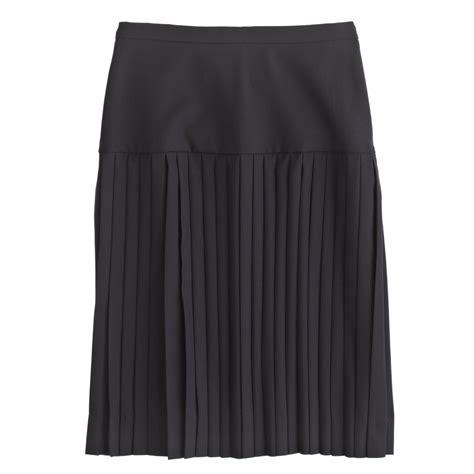 j crew drop waist pleated skirt in 120s wool in blue