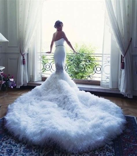 45 Breathtaking Wedding Dresses With Trains HappyWedd.com
