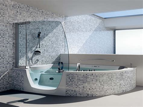 Black and white small bathrooms, corner whirlpool shower