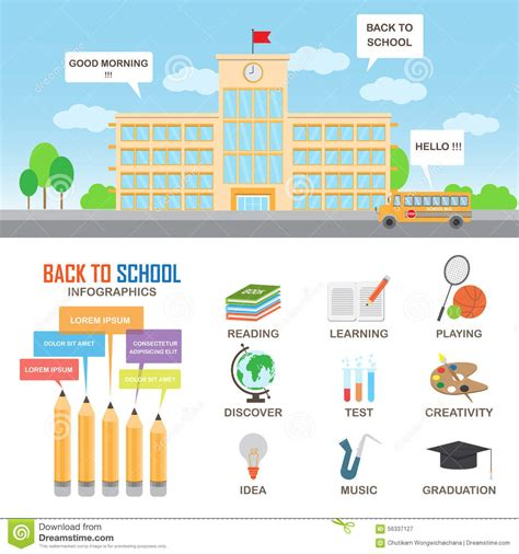 cover page template free download education infographics elements stock vector
