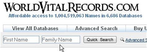 Free Birth Record Database How To Search The Free Genealogy Databases On World Vital Records Treasure Maps