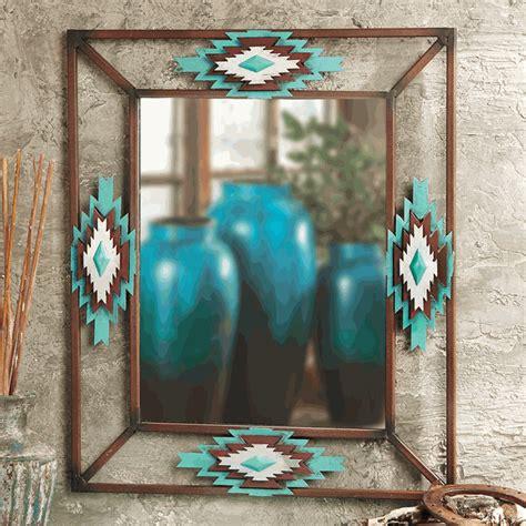 aztec diamond turquoise mirror