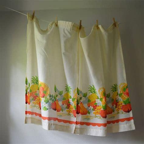 orange kitchen curtains sale vintage curtain panels 1970 s kitchen curtains fruits and