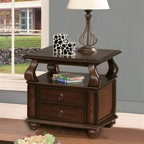 Living Room End Tables With Drawers Amado Occasional Living Room End Side Snack Table Stand 2 Drawers Shelf Walnut Ebay