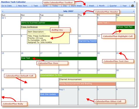 Css Calendar Customize Calendar Plus Web Part User Interface Using Css