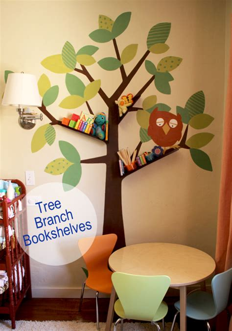 baby nursery diy tree branch bookshelf pepper design