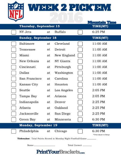 printable nfl schedule this week mountain time week 2 nfl schedule 2016 printable