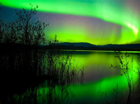 green northern lights canada hd wallpaper