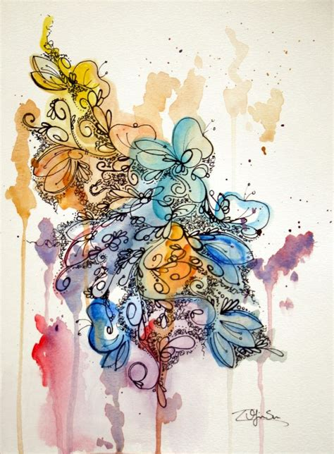 old watercolor tattoo original watercolor abstract painting bold colorful