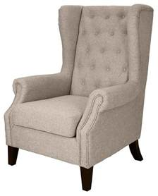Wingback Accent Chair Tufted Upholstered Wingback Chair Beige Armchairs And Accent Chairs By Shopladder