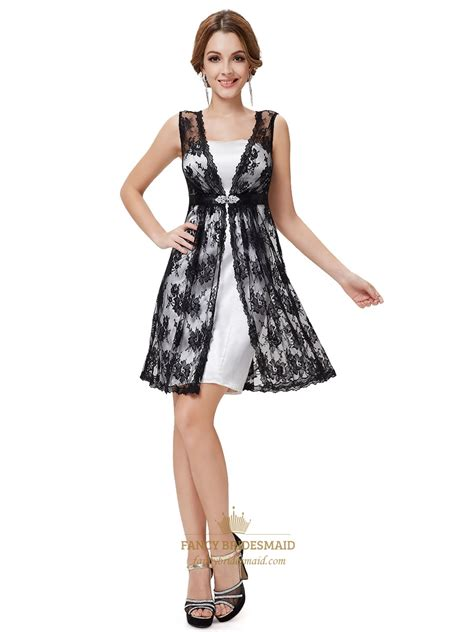 white and black lace homecoming dress white dress with