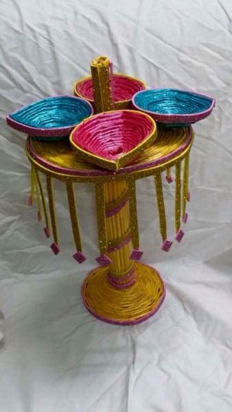 newspaper diyas golden diya stand  diwali decoration