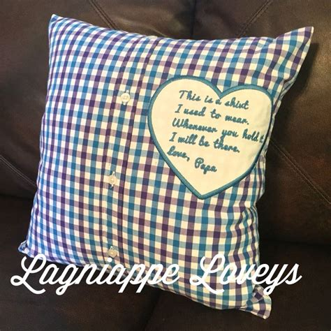 embroidered memory pillow  deceased loved  shirt  lagniappe loveys www