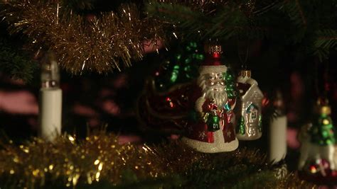 a well decorated christmas tree close up stock footage