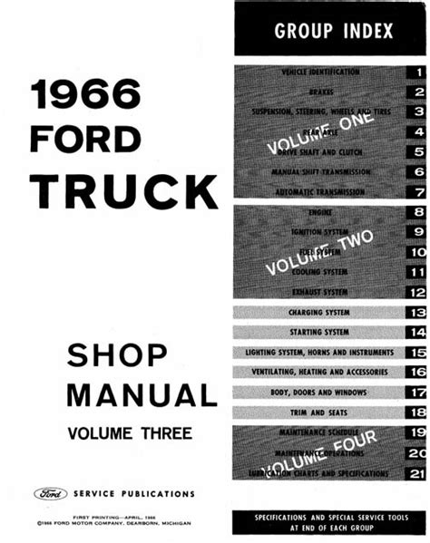 1966 ford small car service manual 1966 ford truck shop manual complete service procedures factory authorized