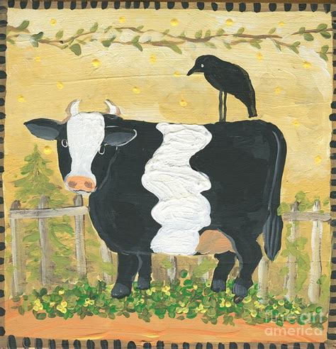 prim painting blog columbus ohio painting company blog primitive cow and crow painting by sylvia pimental