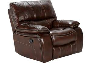 home brown leather power recliner