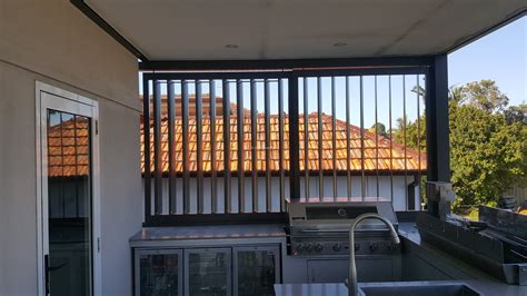 Awning Arm Privacy Screen With Adjustable 160mm Vertical Louvers