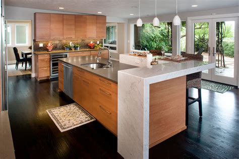 kitchens by design boise birch cabinets concrete and caesarstone island