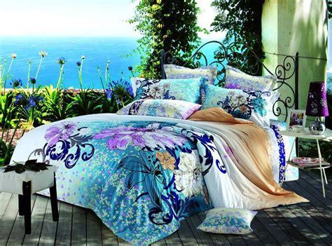 Blue And Purple Bedding Sets Blue Purple Floral Flower Bedding Set Size Duvet Cover Bedspread Bedsheet Bed In A Bag