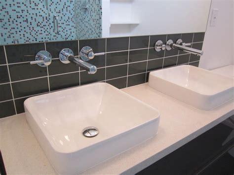 bathrooms green button homes floating vanity kohler vox vessel sinks modern