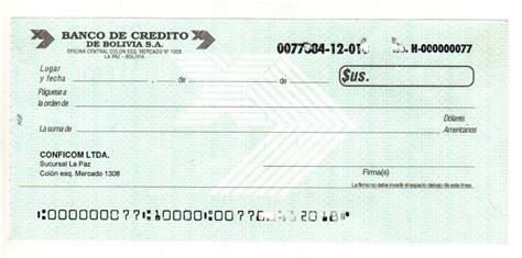 imagenes de cheques en blanco bolivia modelo de cheque banco de credito de bolivia s a