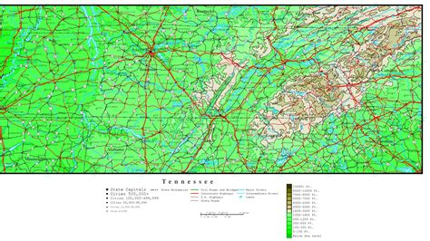 map of and tennessee tennessee elevation map