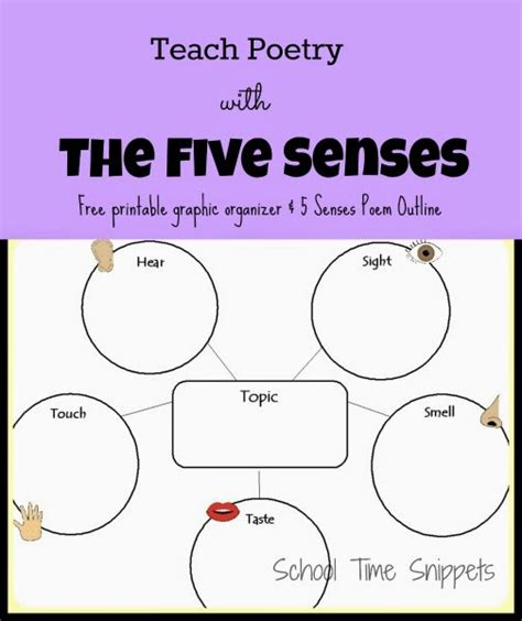 5 senses writing template teach poetry with the five senses school time snippets