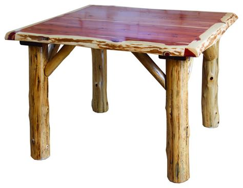 Cedar Dining Table by Rustic Cedar Log Traditional Square Dining Table
