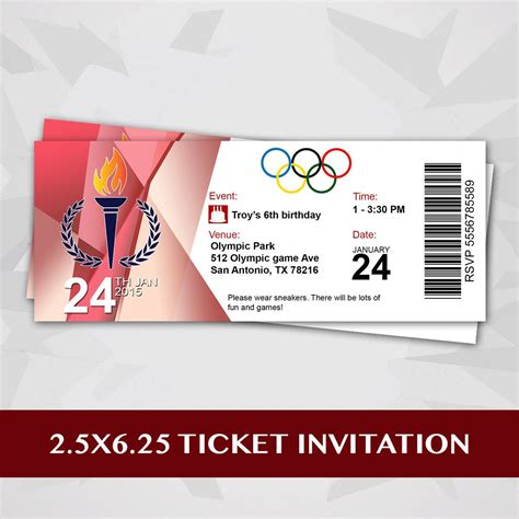 olympic party ticket invitation by redvelvetparties on