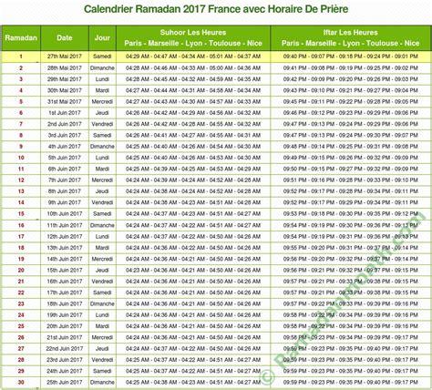 calendrier ramadan 2018 horaire de ramadan 2018