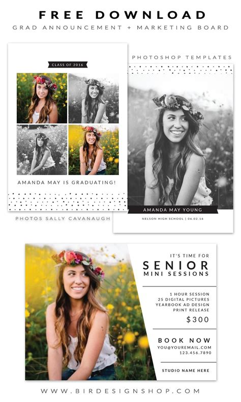 graduation announcements templates for photographers free grad announcement and marketing board photoshop