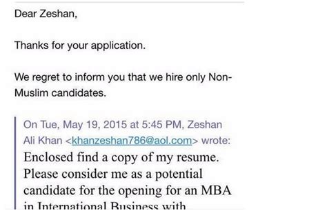 Regret Letter Via Email an mnc didn t want to hire this because he is a muslim the is unforgiving in its