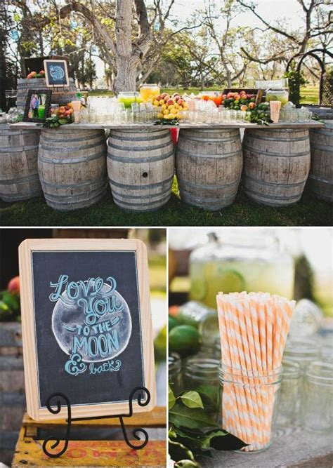 drink table bar rustic chic wedding drink table barrels and bar