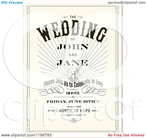 text on wedding invitations clipart of a vintage wedding invitation with sle text royalty free vector illustration by